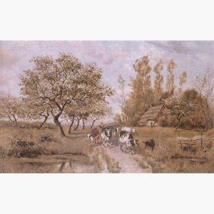 Αναπαραγωγές Ελλήνων Ζωγράφων σε Καμβά - Πανταζής, Τοπίο με αγελάδες