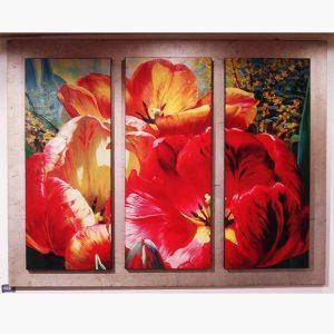 Καμβάς - Ελαιοτυπία - Τρίπτυχο - Λουλούδια με ξύλινη βάση