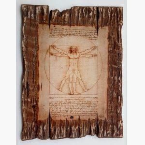 Ξύλινο Κάδρο - Leonardo da Vinci Vitruvian man